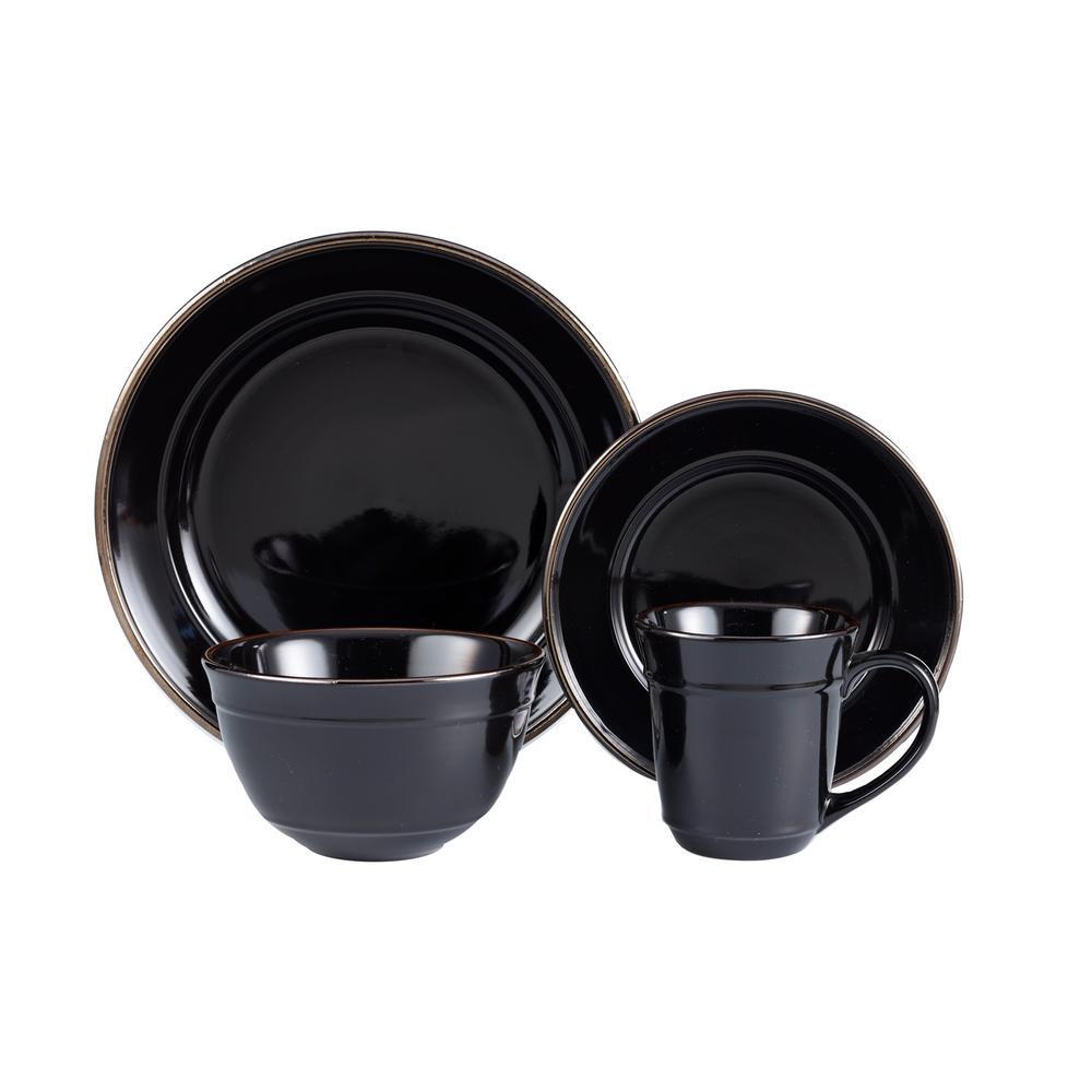 16-Piece Black Lucienne Dinnerware Set