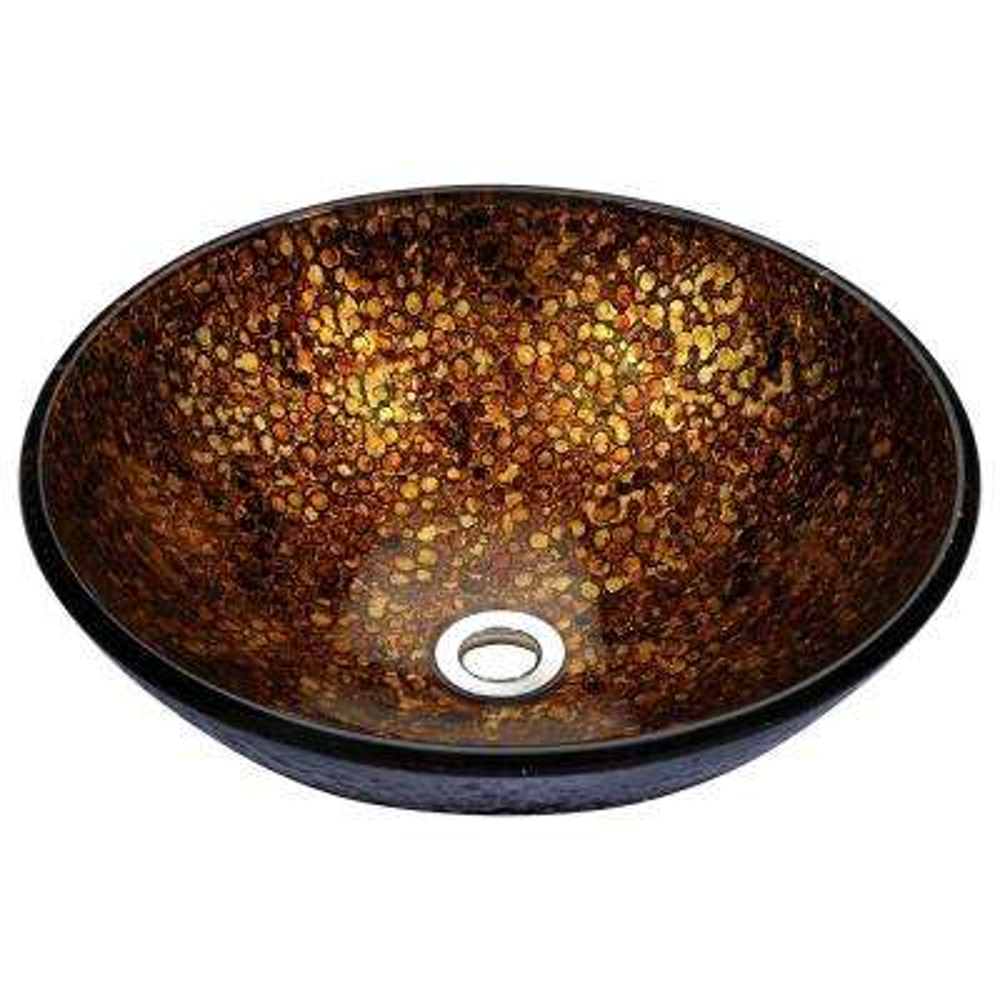 Tara Deco-Glass Vessel Sink in Idol Gold