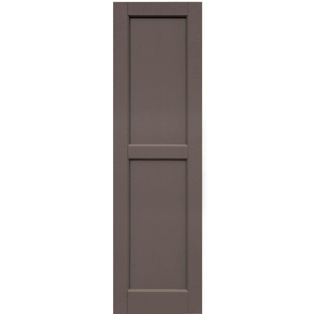 Winworks Wood Composite 15 in. x 53 in. Contemporary Flat Panel Shutters Pair #641 Walnut