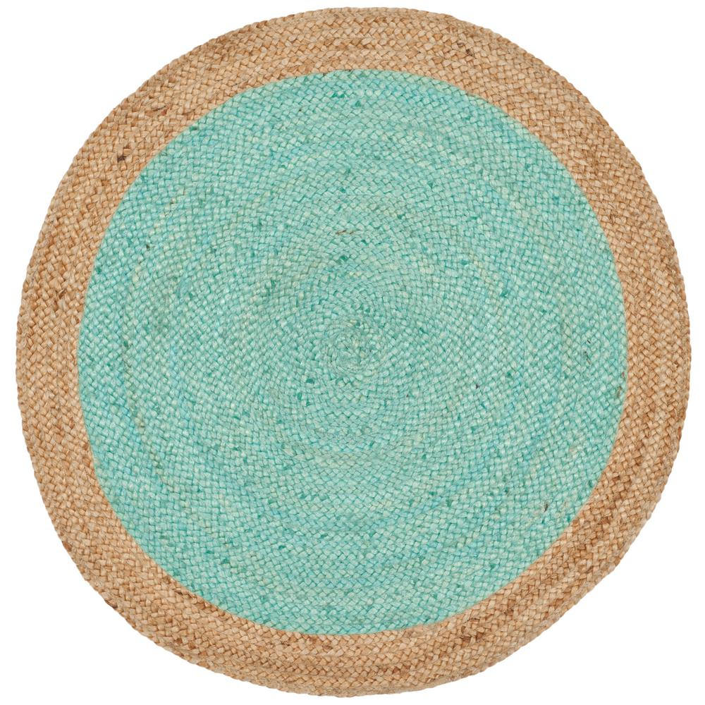 Safavieh Natural Fiber Aqua Beige 3 Ft X Round Area Rug