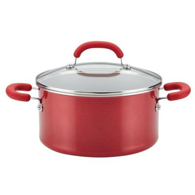 Create Delicious 6 qt. Aluminum Nonstick Stock Pot in Light Blue Shimmer with Glass Lid