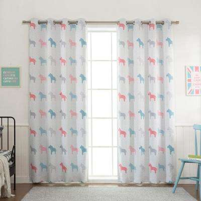 63 in. L Polyester Pastel Wildlife Blackout Curtains Multicolored (2-Pack)