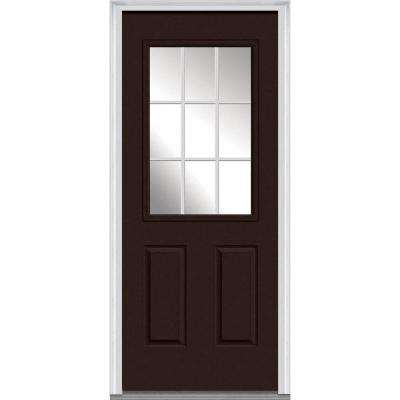 30 in. x 80 in. Grilles Between Glass Right-Hand Inswing 1/2-Lite Clear 2-Panel Painted Steel Prehung Front Door