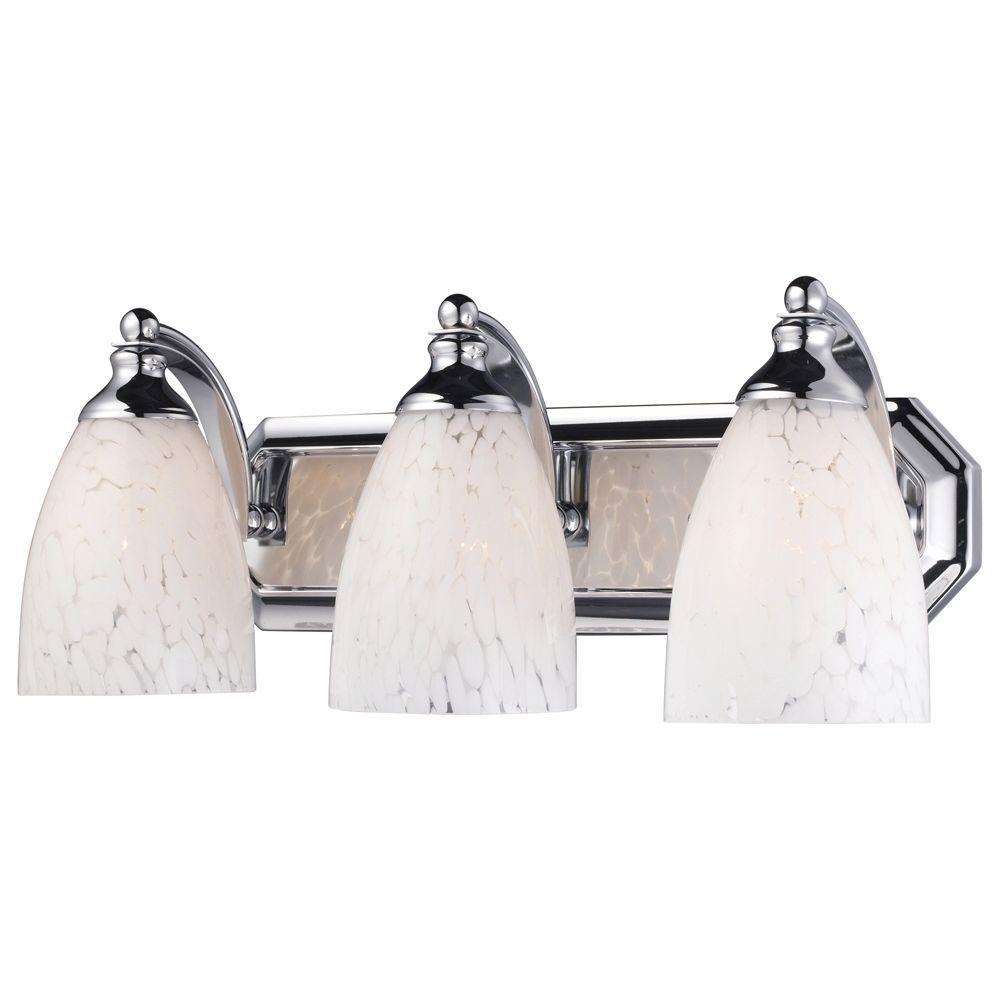3-Light Polished Chrome Wall Mount Vanity Light