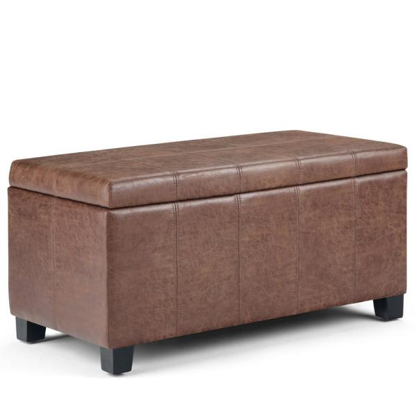 Simpli Home Dover 36 in. Distressed Umber Brown Faux Air Leather