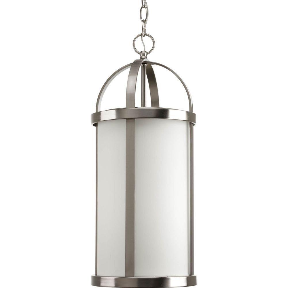 Progress Lighting Greetings Collection 1-Light Brushed Nickel Hanging Lantern