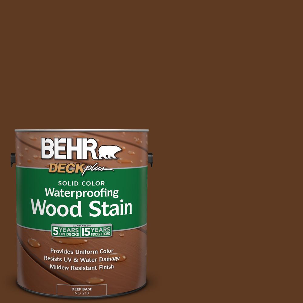 BEHR DECKplus 1 gal. #SC-129 Chocolate Solid Color Waterproofing Exterior Wood Stain