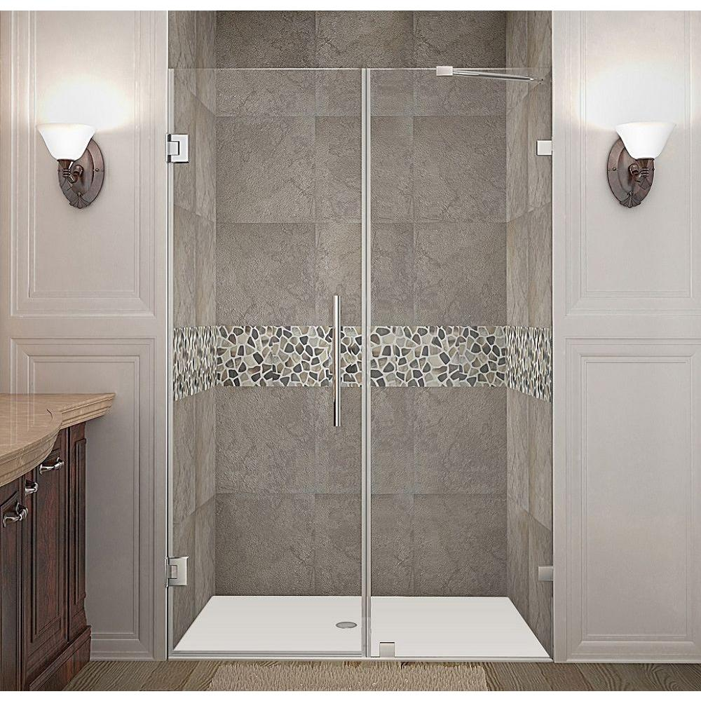 Nautis 51 in. x 72 in. Frameless Hinged Shower Door in