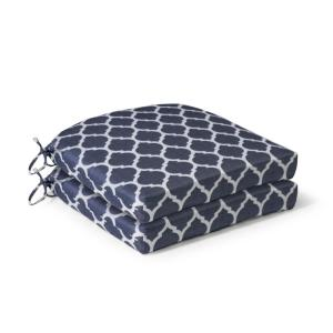 21 in. x 21 in. x 4 in. CushionGuard Midnight Trellis Deluxe Square Outdoor Seat Cushion (2 Pack)