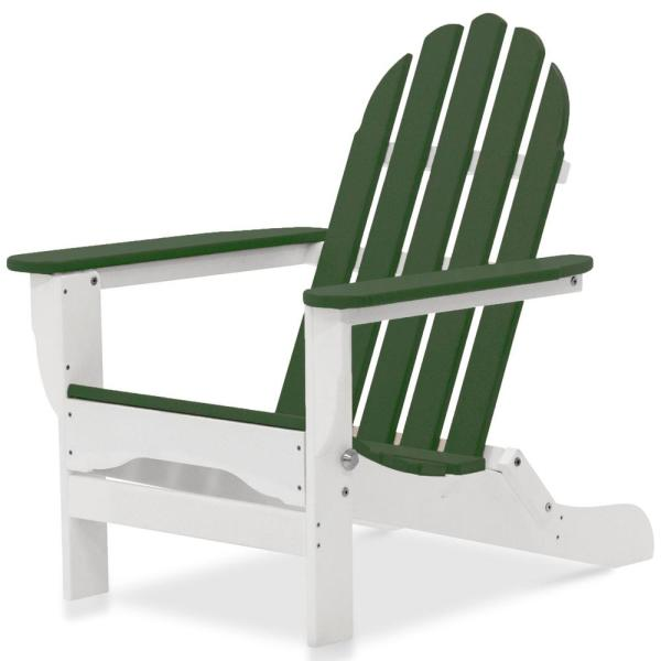 Icon White and Forest Green Plastic Folding Adirondack Chair