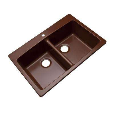 Waterbrook Dual Mount Composite Granite 33 in. 1-Hole Double Bowl Kitchen Sink in Cocoa