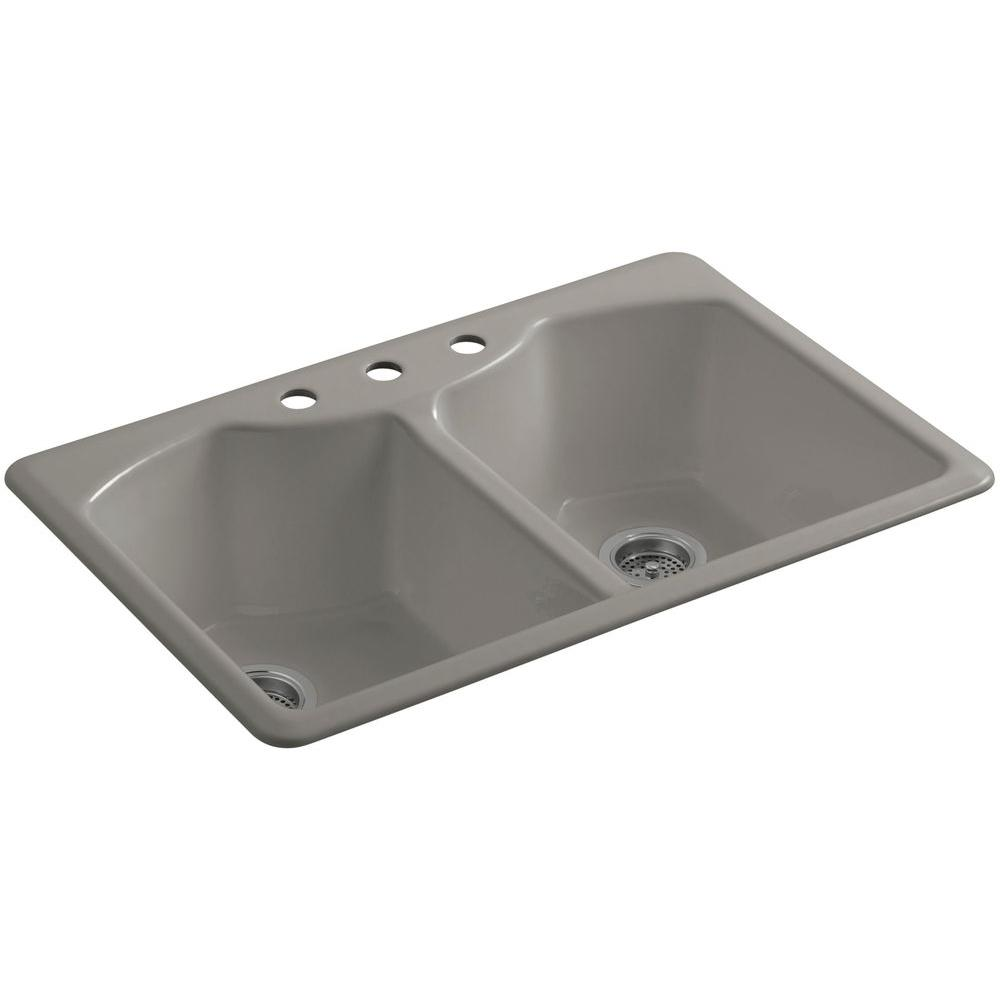 kohler double kitchen sink kohler bellegrove drop in cast iron 33 in 3 6682