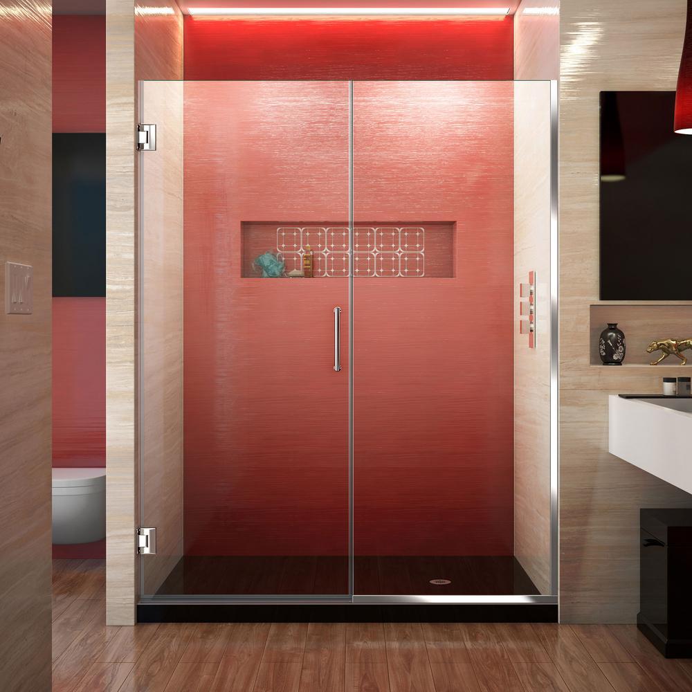 Unidoor Plus 53 to 53.5 in. x 72 in. Frameless Hinged Shower Door in Chrome
