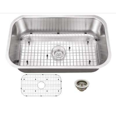 Undermount 30 in. 16-Gauge Stainless Steel Kitchen Sink in Brushed Stainless with Grid Set and Drain Assembly