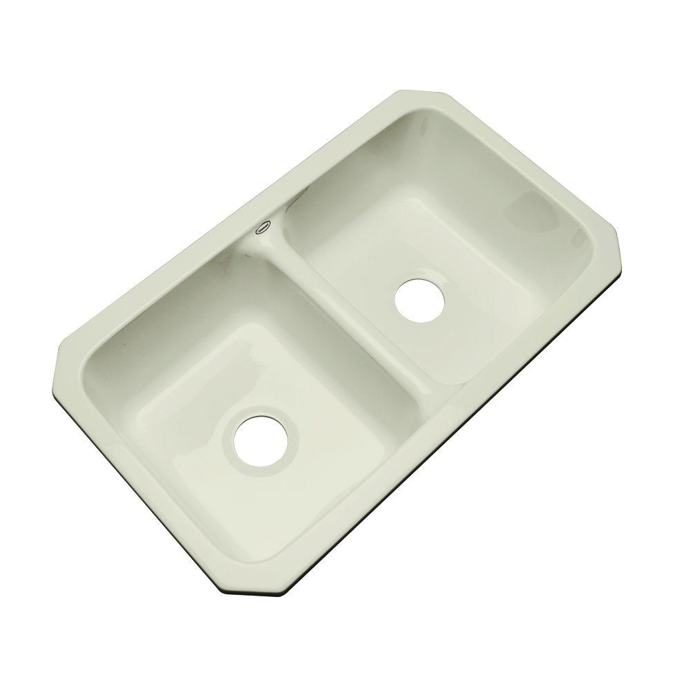Thermocast Newport Undermount Acrylic 33x19.5x9 in. 0-Hole Double Basin Kitchen Sink in Jersey Cream