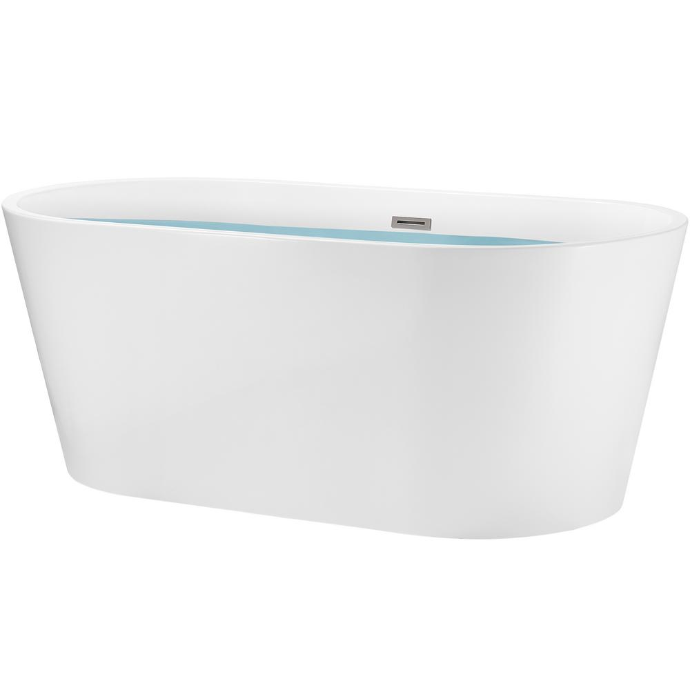AKDY 67 in. Acrylic Double Ended Flatbottom Non-Whirlpool Bathtub in Glossy White was $1049.0 now $599.99 (43.0% off)