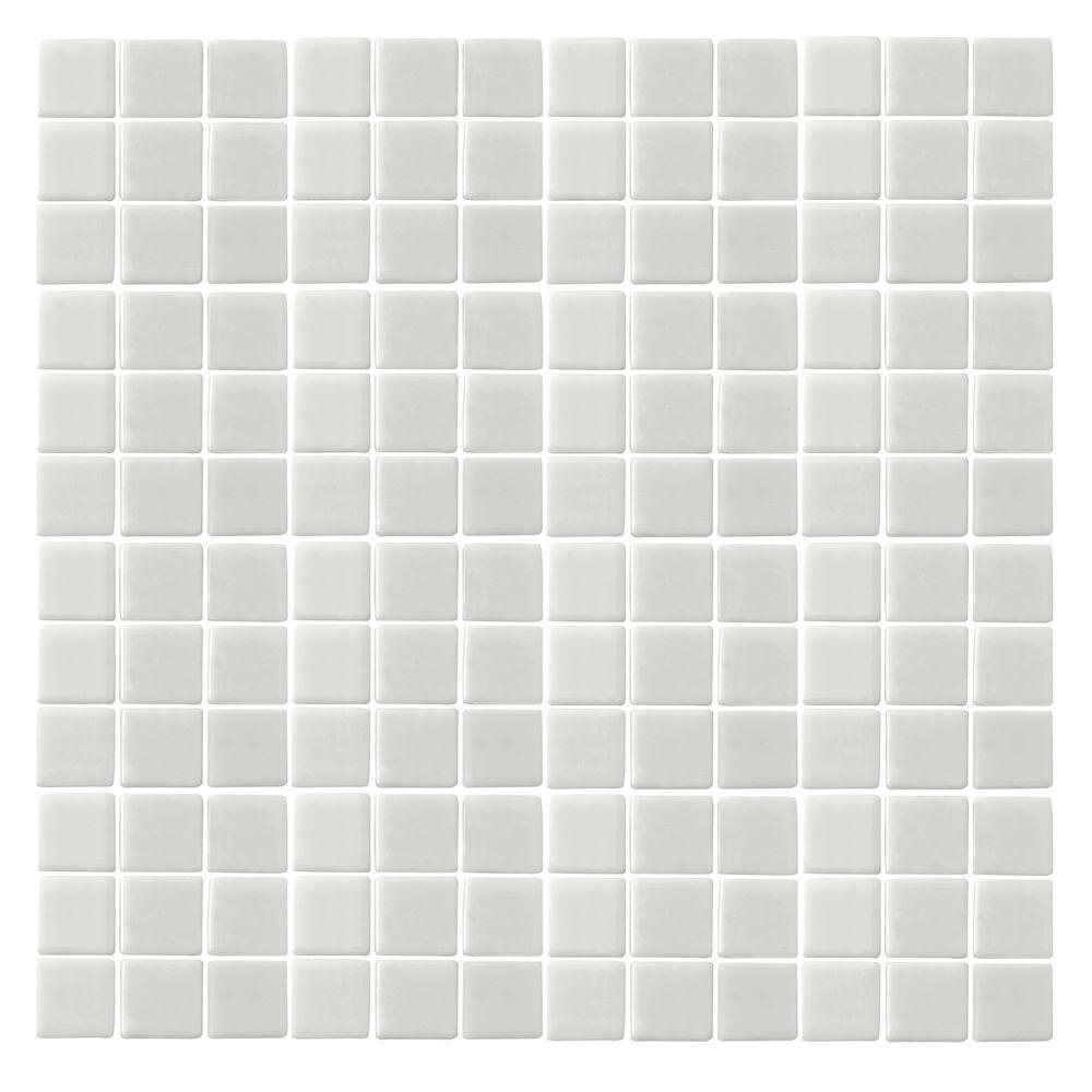 Monoz M-White-1400 Mosiac Recycled Glass Mesh Mounted Floor and Wall Tile