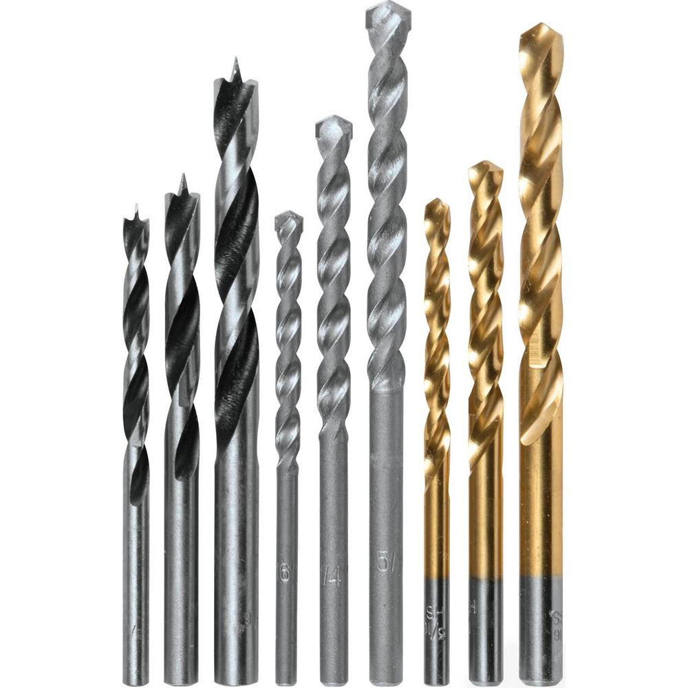Makita 9 Piece Assorted Drill Bit Set Metal Wood Masonry