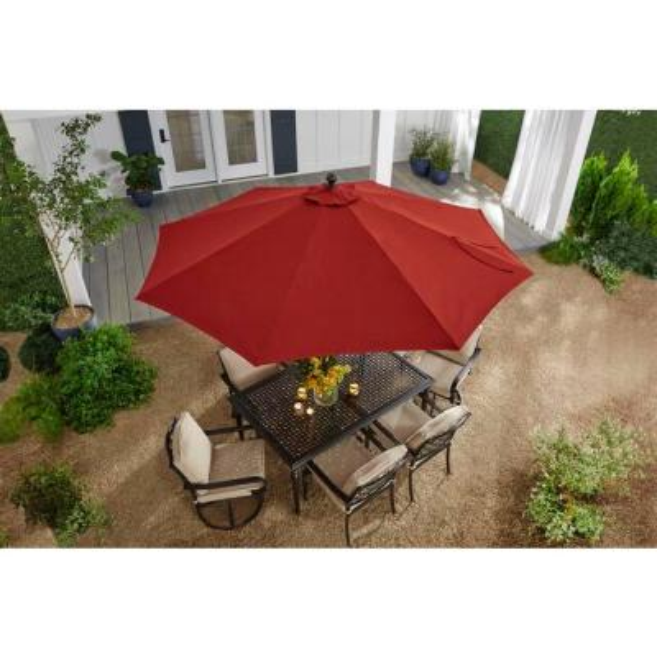 10 ft. Aluminum Auto-Tilt Market Outdoor Patio Umbrella in Chili Red