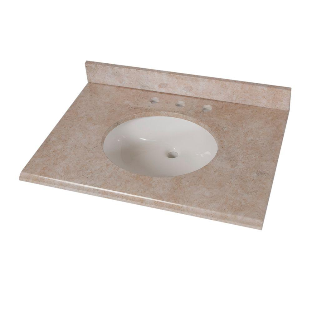 Home Decorators Collection 31 in. Stone Effects Vanity Top in Oasis with White Bowl