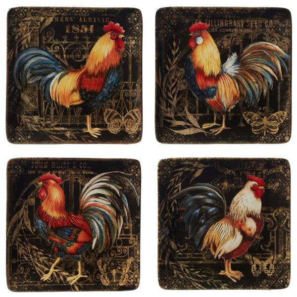 Gilded Rooster 4-Piece Traditional Multi-Colored Ceramic Dinner Plate Set (Service for 4)