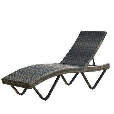 San Marcos Grey 1-Piece Wicker Outdoor Chaise Lounge