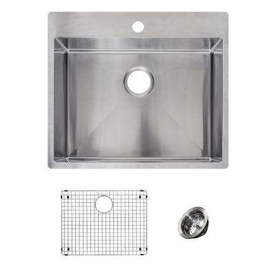 Vector All-in-One Dual Mount Stainless Steel 25 in. 1-Hole Single Bowl Kitchen Sink Kit