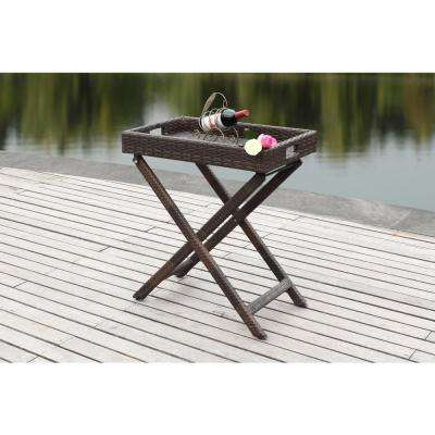 Bardia Brown Ratten Patio Tray Table