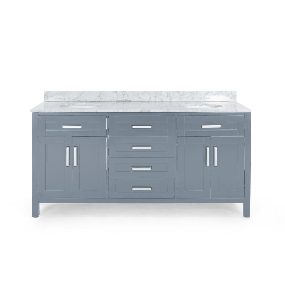 Noble House Greysen 72 in. W x 22 in. D Bath Vanity with Carrara Marble Vanity Top in Grey with White Basin