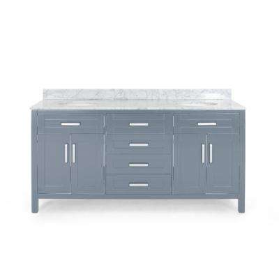 Greysen 72 in. W x 22 in. D Bath Vanity with Carrara Marble Vanity Top in Grey with White Basin