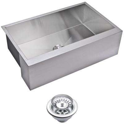 Farmhouse Apron Front Zero Radius Stainless Steel 33 in. Single Bowl Kitchen Sink with Strainer in Satin