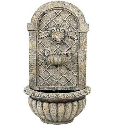 Venetian French Limestone Electric Powered Outdoor Wall Fountain