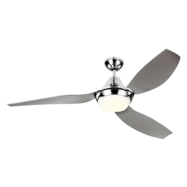 Avvo 56 in. Indoor/Outdoor Chrome Ceiling Fan with LED Light Kit, DC Motor, ABS Blades and 6-Speed Remote Control