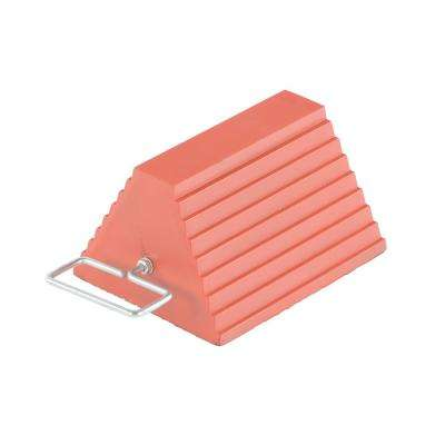 Orange Rubber Wheel Chock with Handle