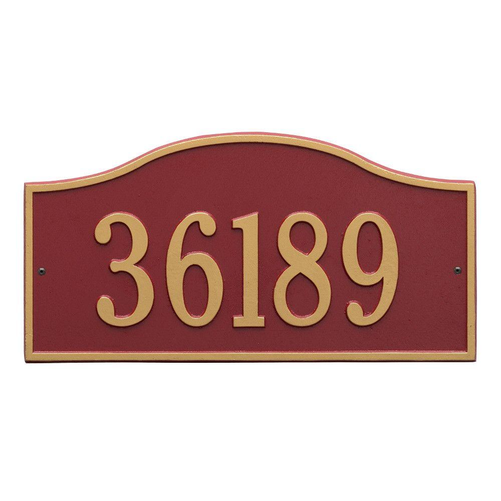 Rolling Hills Rectangular Red/Gold Grande Wall One Line Address Plaque