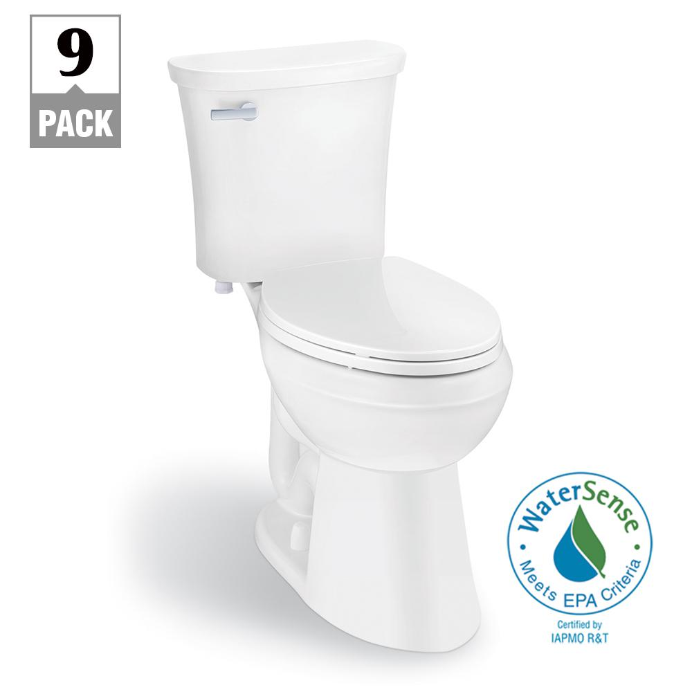 Glacier Bay Power Flush 2 Piece 1 28 Gpf Single Flush Elongated Toilet In White With Slow Close Seat Included 9 Pack N2450e The Home Depot