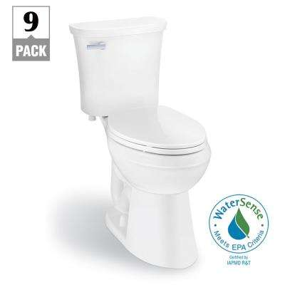 Power Flush 2-Piece 1.28 GPF Single Flush Elongated Toilet in White, Seat Included (9-Pack)