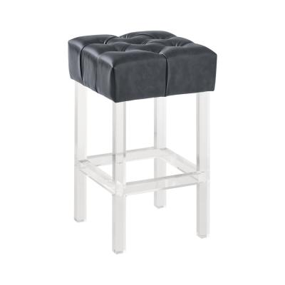Kara Contemporary 26 in. Grey Faux Leather Counter Height Bar Stool with Acrylic Legs