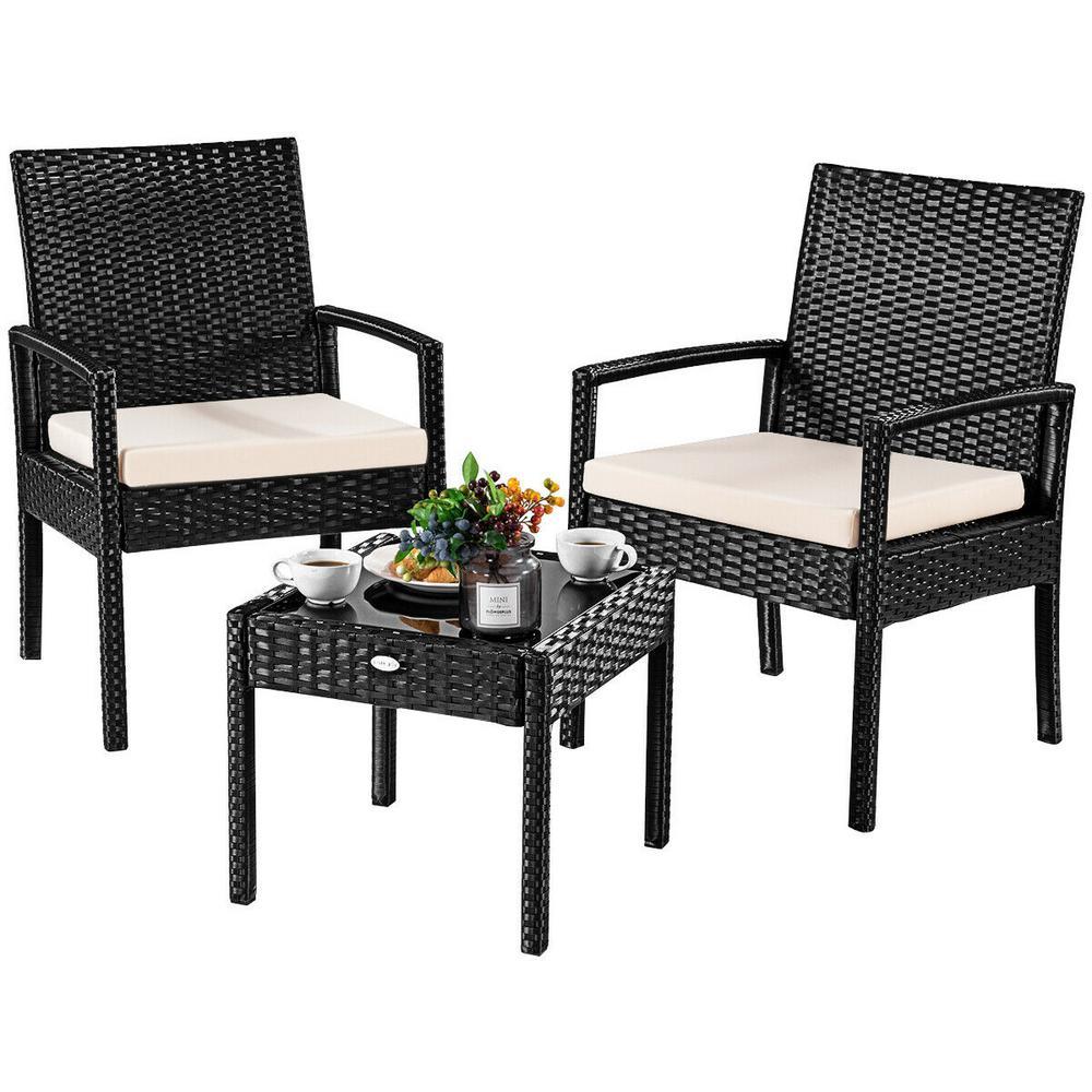 3-Pieces Outdoor Rattan Furniture Patio Conversation Set Backyard Garden Furniture Seat Cushioned