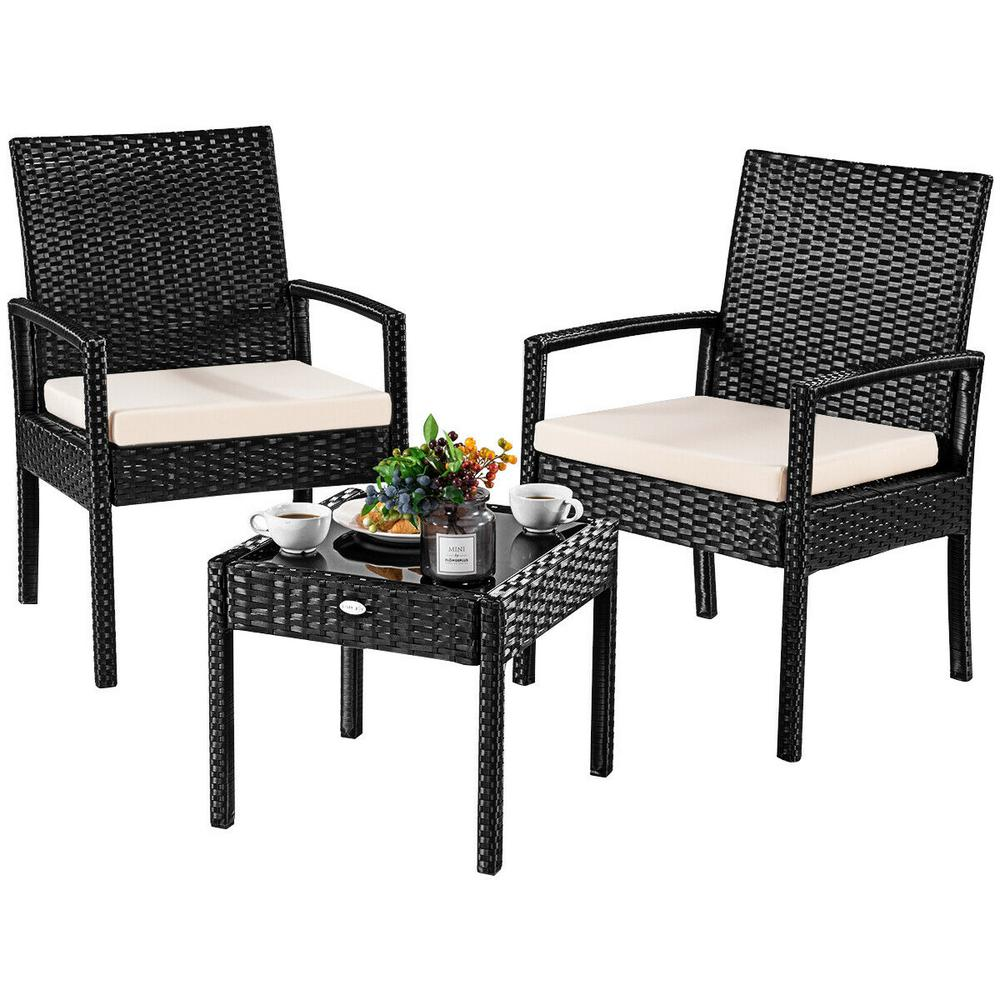 Costway 3-Pieces Outdoor Rattan Furniture Patio Conversation Set Backyard Garden Furniture Seat Cushioned