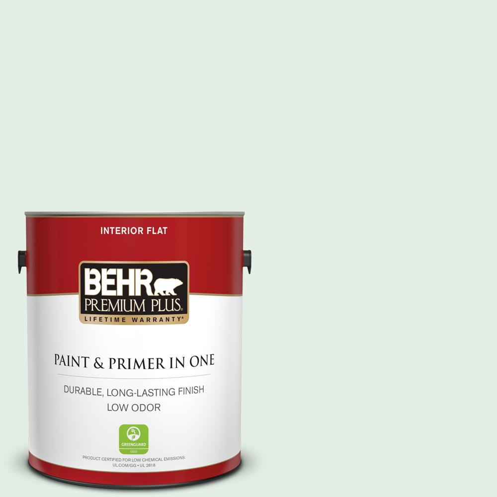 Behr Premium Plus 1 Gal Ppl 25 Sign Of Spring Flat Low Odor Interior Paint And Primer In One 105001 The Home Depot
