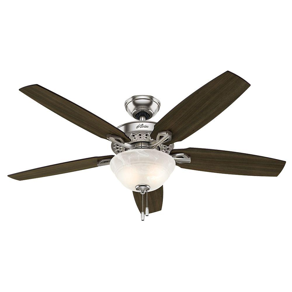 Hunter heathrow 52 in indoor brushed nickel ceiling fan with hunter heathrow 52 in indoor brushed nickel ceiling fan with light kit mozeypictures Gallery