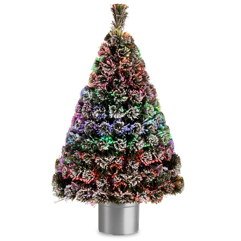 National Tree Company 4 ft. Fiber Optic Evergreen Flocked ...