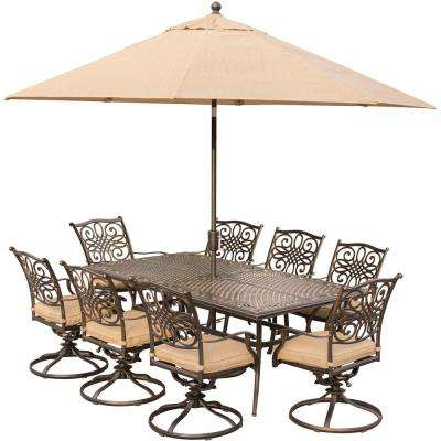 9-Piece Outdoor Dining Set with Rectangular Cast Table and Swivels with Natural Oat Cushions, Umbrella and Base