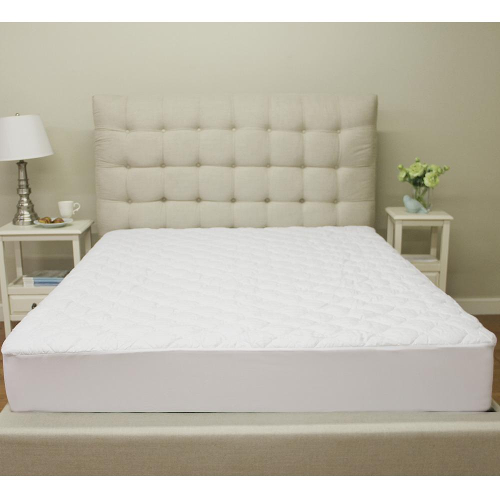 Sleep Options Deluxe Cotton Queen Size Quilted Waterproof Mattress Pad And  Protector