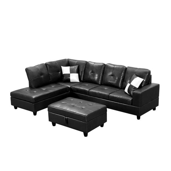 3 Piece Black Faux Leather 6 Seats L-shaped Right Facing Sectionals Sofa with Storage Ottoman