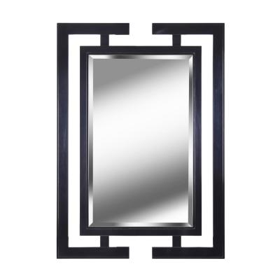 Large Rectangle Gloss Black Beveled Glass Art Deco Mirror (41 in. H x 29 in. W)