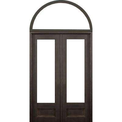 72 in.x132 in. Marco Island Transom Right-Hand Classic Painted Wrought Iron Double Prehung Front Door (Transom Included)