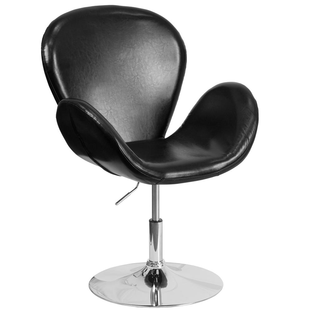 Hercules Trestron Series Black Leather Reception Chair with Adjustable Height