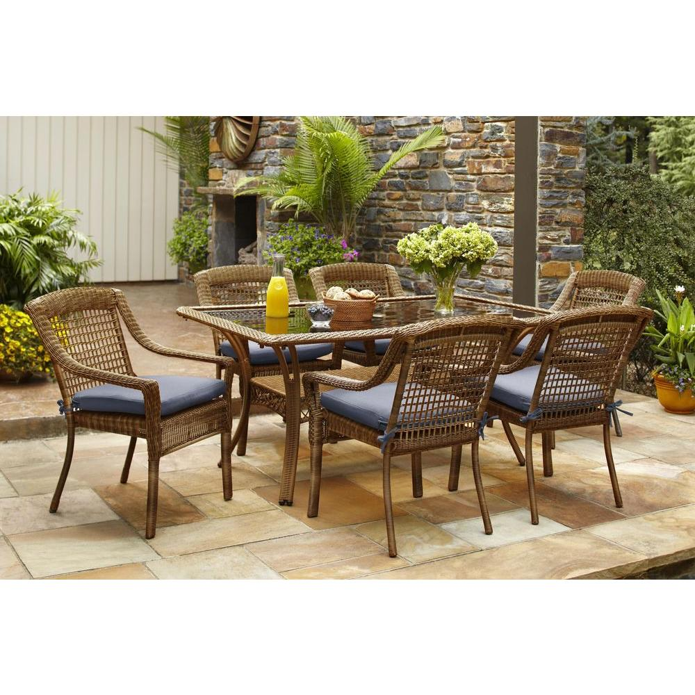 Hampton Bay Spring Haven Brown 7 Piece All Weather Wicker Outdoor Patio Dining Set With Sky Blue Cushions 66 2999 The Home Depot